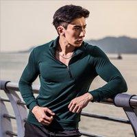 Wholesale Half Zip Hoodies - Wholesale-SY95034 Men's Sports Jacket Hoodies Half Zip Running Jersey Quick-drying Fitness Yoga Sweatshirt Stand Collar Training Top