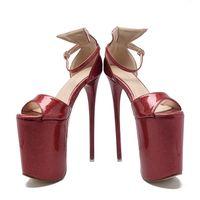 Wholesale sexy bow shoes online - Summer Women s Sandals Ultra High Heels cm Platform Patent Leather Bow Sexy Women Party Shoes Thin Heels Women Pumps Peep Toe Size