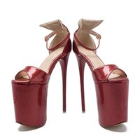 Wholesale Sexy Platform Wedding Sandals - Summer Women's Sandals Ultra High Heels 19cm Platform Patent Leather Bow Sexy Women Party Shoes Thin Heels Women Pumps Peep Toe Size 34--43