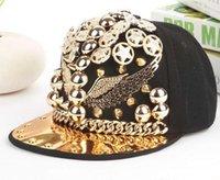 Wholesale Caps Hats Mlb - new Top Quality MLB Mens Hip hop Adjustable Caps Personality Rivets Chain Decorate Robin Baseball Snapback Hats Men Casquette Strapback