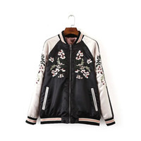 Wholesale Trendy Long Jackets - Wholesale- New Trendy Women Fashion Vintage Floral Embroidery Double Sides Wearable Long Sleeve Baseball Jacket