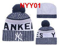 Wholesale Yankees Women - New Arrived YANKEES Beanies Baseball Beanie KNIT Winter Cap cuff Beanie with Pom Top Quality Sport Men And Women Skull Hat