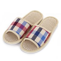 Wholesale Lovers Slippers Indoor - Wholesale- Hot Sale Tartan Design Lovers Sandals Summer Indoor Slippers Flat Cany Mat Linen Slippers Shoes Breathable Plaid Men Women Shoes