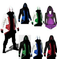 costume de film aladdin achat en gros de-Lâche Halloween Assassins Creed 3 III Conner Kenway Hoodie Rouge Noir Manteau Veste Cosplay Film Film Costume