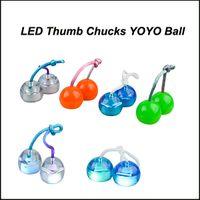 Wholesale Rolling Monkey - Newest Fidget toys LED Thumb Chucks YO-yo skill toy finger ball Bundle Control Roll Game Yomega Monkey Knuckles Glow in Dark DHL Free