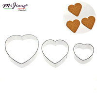Wholesale Heart Cake Mould - Mijiang Stainless Steel Heart Shaped Cookie Cutter Set Biscuit Fondant Mould Slicer DIY Cake Decorating Tools Kitchen Accessories A302