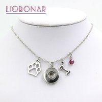 Wholesale personalized pet jewelry - Wholesale Snap Jewelry Personalized Necklace Gift 12 Birthstone Pet Dog Bone Paw Print Snap Necklace Fit on Snap Button Jewelry
