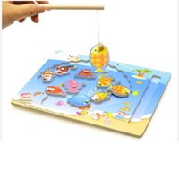 Wholesale Wholesale Magnetic Jigsaw Puzzle - Wholesale- Baby wooden toy wooden magnetic Puzzle for baby Wooden Magnetic Fishing Game & Jigsaw Puzzle Board Children Toy lyj48