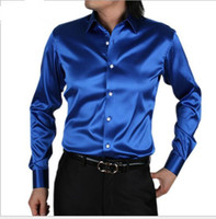 Wholesale Men Silk Goods - Wholesale- 2017 New style men Very good quality long sleeve business leisure silk shirt men Cultivate one's morality shirt plus size S-5XL