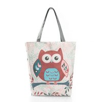 Wholesale Owl Women Bag - Floral And Owl Printed Canvas Tote Female Casual Beach Bags Large Capacity Women Single Shopping Bag Daily Use Canvas Handbags