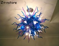 lustres de cristal de bola redonda venda por atacado-Alta Qualidade de suspensão Blown Rodada Balls Cor Azul Mão de vidro moderno candelabro de cristal LED candelabro luminária