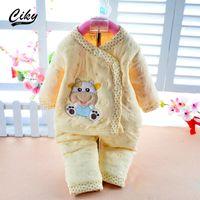 Wholesale Thick Baby Pajamas - Wholesale- 2015 Newborn baby set Baby Clothing Set Cotton Autumn Winter Thick Pajamas Cartoon Bear Baby Boy Girl Long Sleeve Underwear