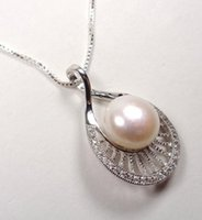 STERLING SILVER SPARKLING MAUI PEARL TEARDROP BIANCHI PIETRE AMORE COLLANA PENDENTE