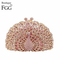 Wholesale Orange Wedding Evening Bags - Wholesale- Gift Box Women Luxury Crystal Evening Bags Multi Rhinestones Wedding Dress Peacock Clutch Purse Hard Metal Clutches Shoulder Bag