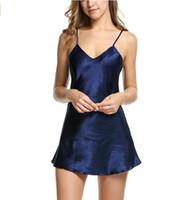 Wholesale Sexiest Satin Slips - Hot Satin Chemise Nightdress Luxury Nightwear Sleepwear Slip Nightie 6 colors available Free Shipping