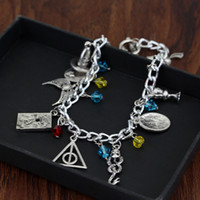Wholesale Harry Potter Hallows Bracelet - Harry Mixed Bracelets Golden Snitch Deathly Hallows Talking Hat Snake Always Scars Resurrection stone rings Charms Potter Fashion Jewelry