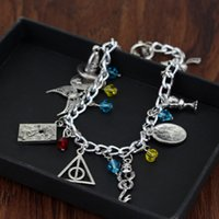 Harry Mixed Bracelets Golden Snitch Reliquias de la muerte Hablar Sombrero Always Scars Resurrection stone rings Encantos Potter Fashion Jewelry
