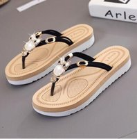 Wholesale Super Light Clay - New arrived Top Quality Luxury brand Soft Gold Pearl chain feather silk Beach FLat Women Super lightweight Slippers Plus Size