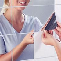 3d mozaik kiremit toptan satış-Yüksek Kalite 9 Adet / takım Kare Ayna Kiremit Duvar Çıkartmaları 3D Çıkartması Mozaik Ev Oda Dekorasyonu DIY Oturma Odası Sundurma Için