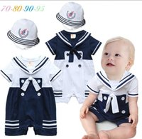 Wholesale Wholesale Organic Baby Rompers - baby Rompers one-Piece Romper Jumpsuits baby navy style shorts-sleeved Romper +hat baby boy Jumpsuits & Rompers romper