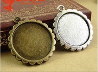 Wholesale Cameos Bulk - A1308 24MM Fit 20MM Antique Bronze round cameo cabochon setting, vintage metal stamping blanks, retro bulk DIY pendant tray bezel base