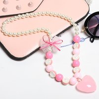 Kawaii Kids Imitation Pearl Lace Bow Tie Love Heart Pendant Necklace para Girl Kids Gift Choker Jóias Acessório Atacado