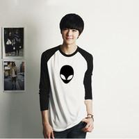 Wholesale Tshirt Logos Wholesale - Wholesale- 2016 New Mens Long Sleeve Alien Logo Print T Shirt Men Novelty Tshirt Full Sleeves Printed Clothes Boys Clothing