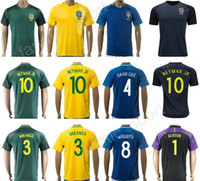 Wholesale Black Soccer Jerseys Custom - 2018 Camisa de futebol 10 NEYMAR Soccer Jersey Brazil Custom 3 Thiago Silva Brasil Football Shirt Custom 19 WILLIAN 4 DAVID LUIZ 18 PAULINHO