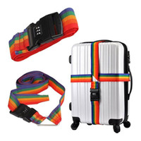 Wholesale Luggage Lock Strap - Wholesale-Colorful Travel Baggage Suitcase Luggage Crossed Secure Safety Packing Strap Belt with Combination Lock