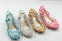 Wholesale Girls Hollow Shoes - frozen PVC Princess shoes Crystal girls sandals With slope Hollowed sandals