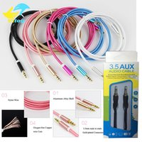 Wholesale Headphones Red Cable - Aux Cable 3.5mm to 3.5 mm Nylon Wire Gold-plated Plug Male to Male Audio Cable With Package for Car Mobile Phone MP3   MP4 Headphone Speaker
