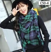 Wholesale Wholesale Shawls Wraps For Fall - Wholesale Za winter oversize plaid new designer blanket unisex acrylic wrap cashmere scarf shawl pashmina for spring fall 140x140CM 17 style