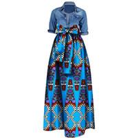 Wholesale womens pink ball gown - Womens African Print Dashiki Skirts Long Maxi A Line Skirt Ball Gown Maxi Dresses 20 Colour S-5XL