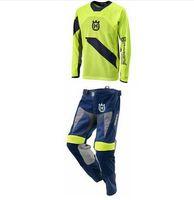 Wholesale Dh Pants - Husqvarna Motorcycle Pants Racing T-Shirt Motocross Suit Off-Road Dirt Bike DH Jersey + Moto MX Pants Suit DH MTB Clothing