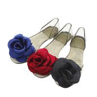 Wholesale Glass Slipper Flat Shoes - 2017 New British Style Fisherman Shoes Woman Designer Shoes Soft PVC Platform Satin Rose Glass Slipper SUMMER Sandals Fashion