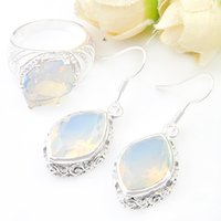 Wholesale Unique Settings Engagement Rings - 2 Pieces 1 Set Classic Holiday Party Jewelry Unique Fire Moonstone 925 Sterling Silver Plated Ring Dangle Earrings Jewelry Set