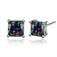 Wholesale Womens Earrings Studs - INANIS Womens Fashion Jewelry Rainbow Colorful Cubic Zirconia Stud Earrings