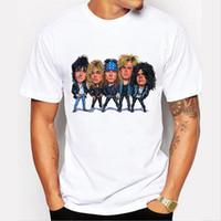 ingrosso camicia floreale dei ragazzi all'ingrosso-Maglietta comica di primavera degli uomini all'ingrosso Punk Rock Guns N Roses Stampa floreale Maglietta O-collo di Harajuku Maglietta grande Boy Top Tee MOE CERF 77-1 #
