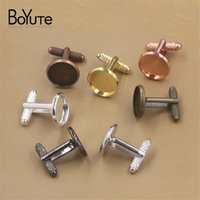 Wholesale gun cuff resale online - BoYuTe Round MM MM MM MM MM Cabochon Base Cufflinks Blank Tray Bezel Diy Jewelry Findings Components Rose Gold Black Gun