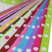 Wholesale grosgrain printed ribbon 9mm - 3 8 Inch 9mm 30 Colors for Choices 1 Dot Printed Grosgrain Ribbon for DIY Accessories Hair Baby Kids Craft Gift Packaging Party Decoration