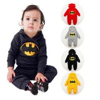 Wholesale Thick Baby Costumes - 2017 Winter Thick Baby Romper Fleece Batman Infant Jumpsuit Costume Babies Overall Bebe Roupas Hooded Rompers Newborn Clothes Bodysuits