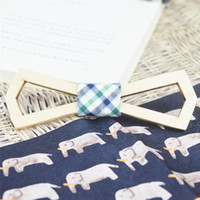 Wholesale Diamond Bowtie - Maple Wood bowtie Genuine Natural Wooden bowknot for female and male with Beautiful Hollow Diamond wood tie