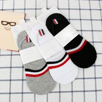 Wholesale Cotton Mens Stripes Shallow Mouth Socks Spring and Summer Solid Color Comfortable and Breathable Fashion Socks
