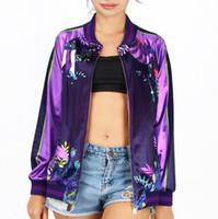 Wholesale Womens Silk Jacket Xl - High quality silk smooth material zipper jacket purple color big smile flower paint hoody girls womens beautiful cloth casual sweatshirt