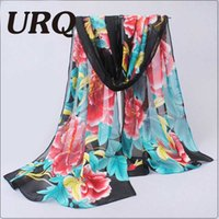 Wholesale Chinese Silk Men Scarf - Wholesale- Long Chiffon Silk scarves Chinese Style Floral Design Flower Scarf Print Woman summer scarves Stole P5A16276