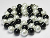 Wholesale Real Black Sea Pearl Necklace - Real 10mm Black White Sea Shell Pearl Necklace 18'' AAA