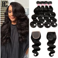 Wholesale Cheap Closures - HC Hair Brazilian Body Wave With Closure Hair With Free Closure 4PCS Cheap Unprocessed Brazilian Hair With Lace Closure Body Wave