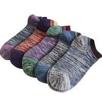 Wholesale Wholesale Cotton Spandex Hot Shorts - Hot Sale Summer Short Men Ankle Socks Male Casual Colorful Combed Cotton Socks Man Low Cut Socks Boat 5Pairs