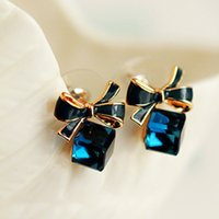 Wholesale Cube Bow Earrings - Wholesale Fashion Korean version of the bow box cube square cube crystal anti-allergic stud earrings temperament wild fine women jewelry
