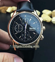 Wholesale Perpetual Rose Gold - Super Clone Luxury Brand New PP Complication Perpetual Double Calendar Mens Watch Automatic Black Dial Rose Gold Hot Sell Leather Watches